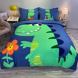4 PCS Duvet Cover Bedding Sets Blue and Yellow Cartoon Dinosaur Boys Bedding Sets