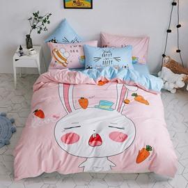 4 PCS Duvet Cover Bedding Sets Pink Cute Cartoon Rabbit Girls Bedding Sets