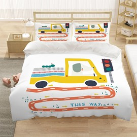 White 3 PCS Set Cartoon Car Duvet Cover Set Hand Wash Polyester Bedding Sets Gifts for Boy Bedroom Polyester 2 Pillowcases