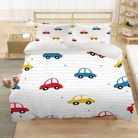Cartoon Car Duvet Cover Set 3 PCS Set Hand Wash Polyester Bedding Sets Gifts for Boy Bedroom Polyester 2 Pillowcases