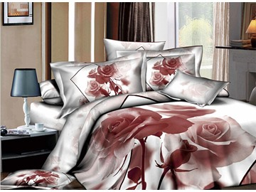 3D Nude Rose Printed Cotton 4-Piece White Bedding Sets/Duvet Covers