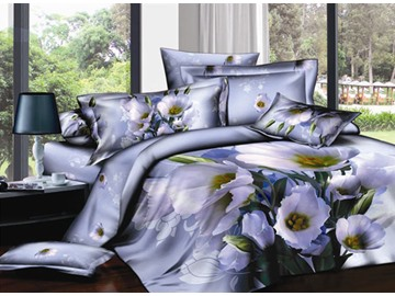 3D Bunch of White Poppies Printed Cotton 4-Piece Bedding Sets/Duvet Covers