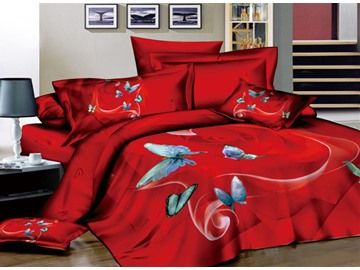 3D Blue Butterflies Printed Cotton 4-Piece Red Bedding Sets/Duvet Covers
