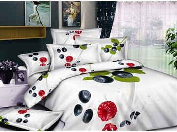 White Printed with Fruit and Greenery 4 Piece Bedding Sets