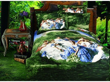 Stylish Oil Painting Print 4 Piece Whole Cotton Duvet Cover Bedding Sets
