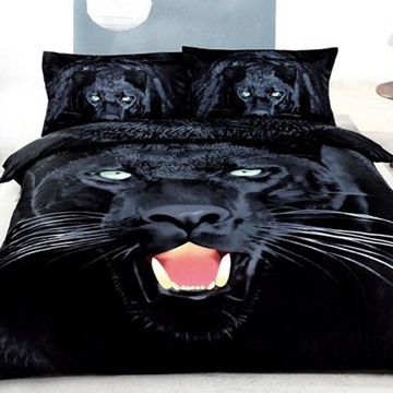 3D Black Fierce Panther Printed Cotton 4-Piece Black Bedding Sets/Duvet Covers