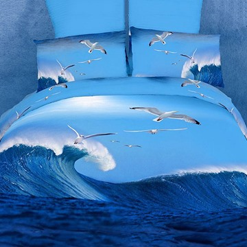 Attractive Flying Seagulls and Waves Cotton 4-Piece Bedding Sets
