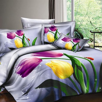 3D Purple and Yellow Tulips Printed Cotton 4-Piece Bedding Sets/Duvet Covers