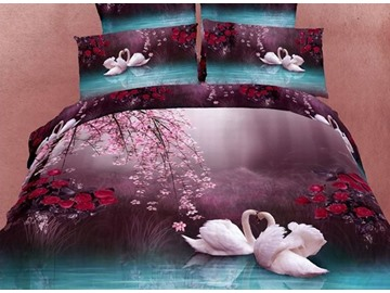 3D White Swans and Flower Printed Cotton 4-Piece Bedding Sets/Duvet Covers
