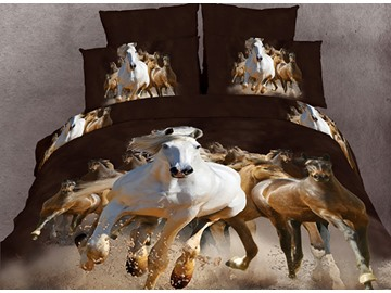 100% Cotton Reactive 3D Horses Printing 4 Piece Bedding Sets