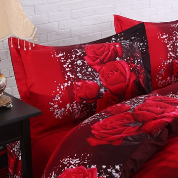 Soft Cotton Luxury 3D Hot Red Rose Printed 4-Piece Bedding Sets/Duvet Covers