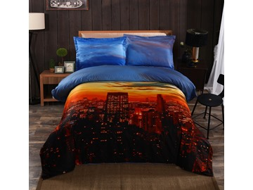 3D Nightfall City Printed Cotton 4-Piece Bedding Sets/Duvet Covers