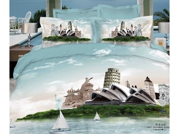 Retro Fashion Sydney Opera House & Leaning Tower Famous Building Print 3D 4 piece Dvet cover/Bedding Sets