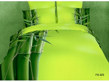 Pure Green Bamboo Reactive Printing 4 piece Bedding Sets