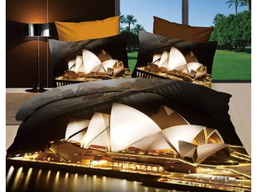 Modern Sydney Opera House 3D Print 4 piece Bedding Sets