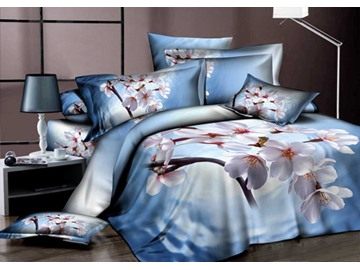 3D Weeping Cherry Printed Cotton 4-Piece Light Blue Bedding Sets/Duvet Covers