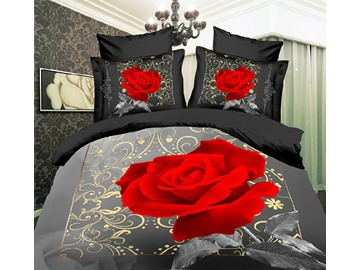 3D Blooming Red Rose Printed Cotton 4-Piece Grey Bedding Sets/Duvet Cover