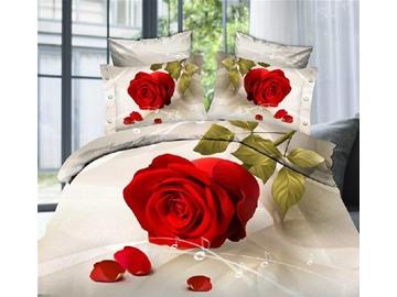 Lovely Big red rose Print 4 Piece Bedding Sets