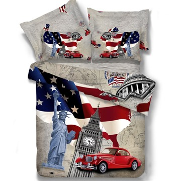 New Arrival 100% Cotton American Element World Fashion 4 Piece Bedding Sets/Duvet Cover Sets