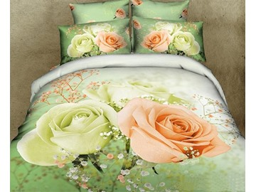 3D Mint Green and Pink Roses Printed Cotton 4-Piece Bedding Sets/Duvet Cover
