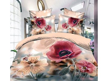 Ink Flower Reactive Printing 4-Piece Polyester Duvet Cover