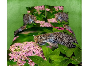 3D Leopard and Lilac Printed Cotton 4-Piece Bedding Sets/Duvet Covers