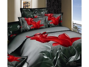 Elegant Tulip 3D Printed 4-Piece Duvet Cover Sets