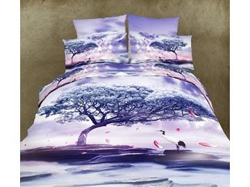 High Quality Light Purple Crane  Under Tree Print  4 Piece Polyester 3D Bedding Sets