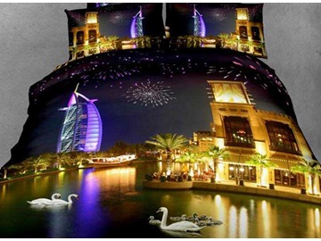 New Arrival Beautiful Burj Al Arab Hotel Across the River Night Scene 4 Piece Bedding Sets