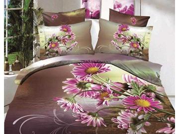 3D Purple Daisy Flowers Printed Cotton 4-Piece Bedding Sets/Duvet Cover