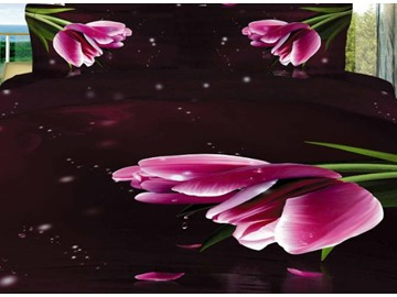 Stunning Pink Tulips Print 4 Piece Bedding Sets