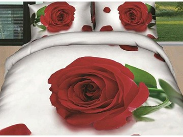 New Arrival Beautiful Red Rose and Green Leaves Print 4 Piece Bedding Sets