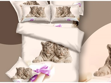 New Arrival Two Ligers and Bow Knot Print 3D Bedding Sets