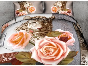 3D Leopard with Pink Roses Printed Cotton 4-Piece Bedding Sets/Duvet Cover