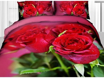 3D Dewy Red Rose and Green Leaves Printed Cotton 4-Piece Bedding Sets