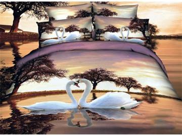 White Swan Couples on the Lake Print Duvet Cover Sets