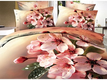 3D Cluster of Pink Weeping Cherry Printed Cotton 4-Piece Bedding Sets/Duvet Covers