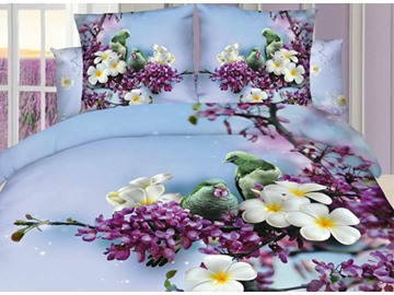 3D Parrot on Floral Branch Printed Cotton 4-Piece Bedding Sets