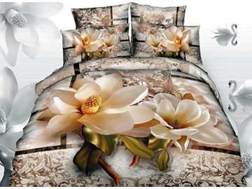 3D Magnolia with Jacobean Printed Cotton 4-Piece Bedding Sets/Duvet Covers