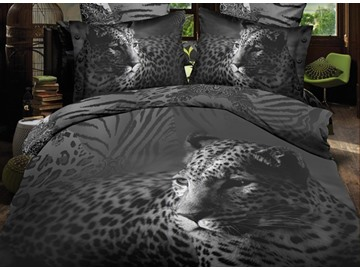 Black Close-Up Leopard Print Polyester 3D Bedding Sets