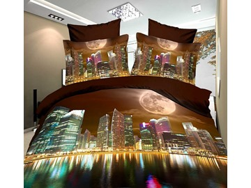 High Quality Modern City 4 Piece Polyester 3D Bedding Sets