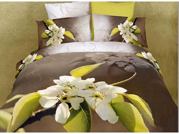 3D White Pear Flowers and Branch Printed Cotton 4-Piece Brown Bedding Sets