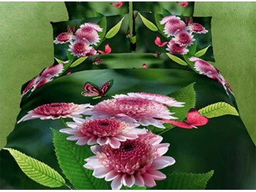 Elegant Pink Butterflies and Flowers Print 3D Duvet Cover Sets