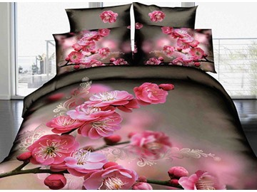 3D Pink Peach Blossom Printed Elegant Cotton 4-Piece Bedding Sets/Duvet Cover