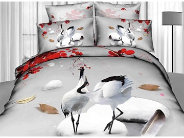 Comfortable Two Cranes on the Ice Print 3D Duvet Cover Sets