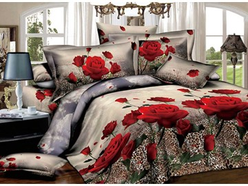 3D Red Rose and Leopard Printed Cotton 4-Piece Bedding Sets/Duvet Covers