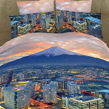 Beauty City in Sunset Print 4-Piece Polyester 3D Duvet Cover Sets