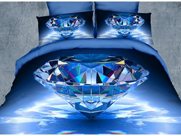 Luxury Big Blue Diamond Print 4-Piece Polyester 3D Duvet Cover Sets