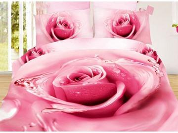 Charming Big Pink Dewy Rose Print 4-Piece Duvet Cover Sets