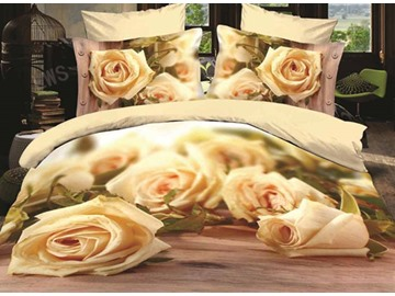 3D White Rose Printed Cotton 4-Piece Bedding Sets/Duvet Covers